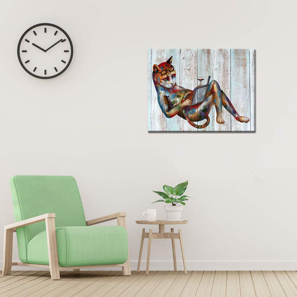 03 Frog, 16x20 Visual Art Decor Frog Painting Wall Art Cute Animals Canvas Prints Poster for Living Room Reading Room Bedroom Office Wall Decoration Ready to Hang