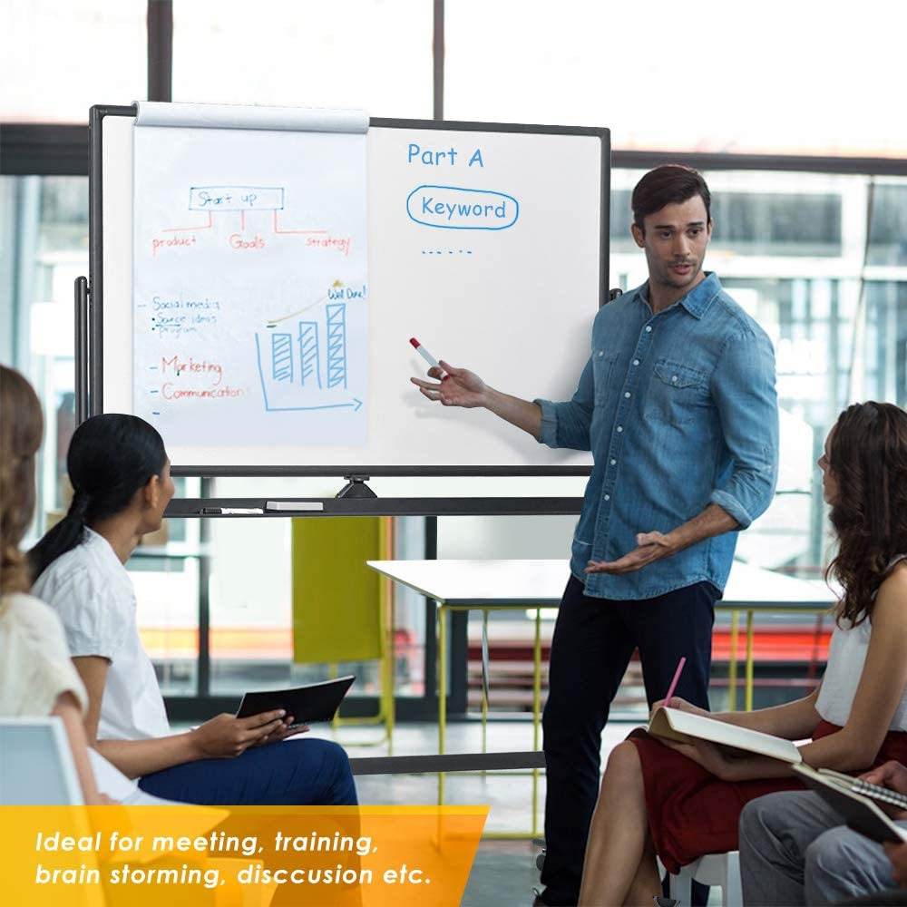 48 x 32 inches Double Sided Rolling Large Reversible Dry Erase Board Easel Standing on Wheels with Black Aluminum Frame and Stand Mobile whiteboard Magnetic White Board