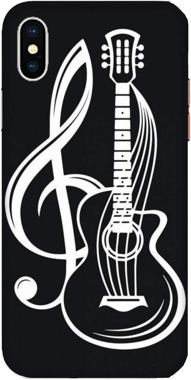 Funda iPhone XS Max Carcasa Apple iPhone XS Max música guitarra con clave de sol / Cubierta Imprimir también en los lados / Cover Antideslizante Antideslizante Antiarañazos Resistente a golpes Prot