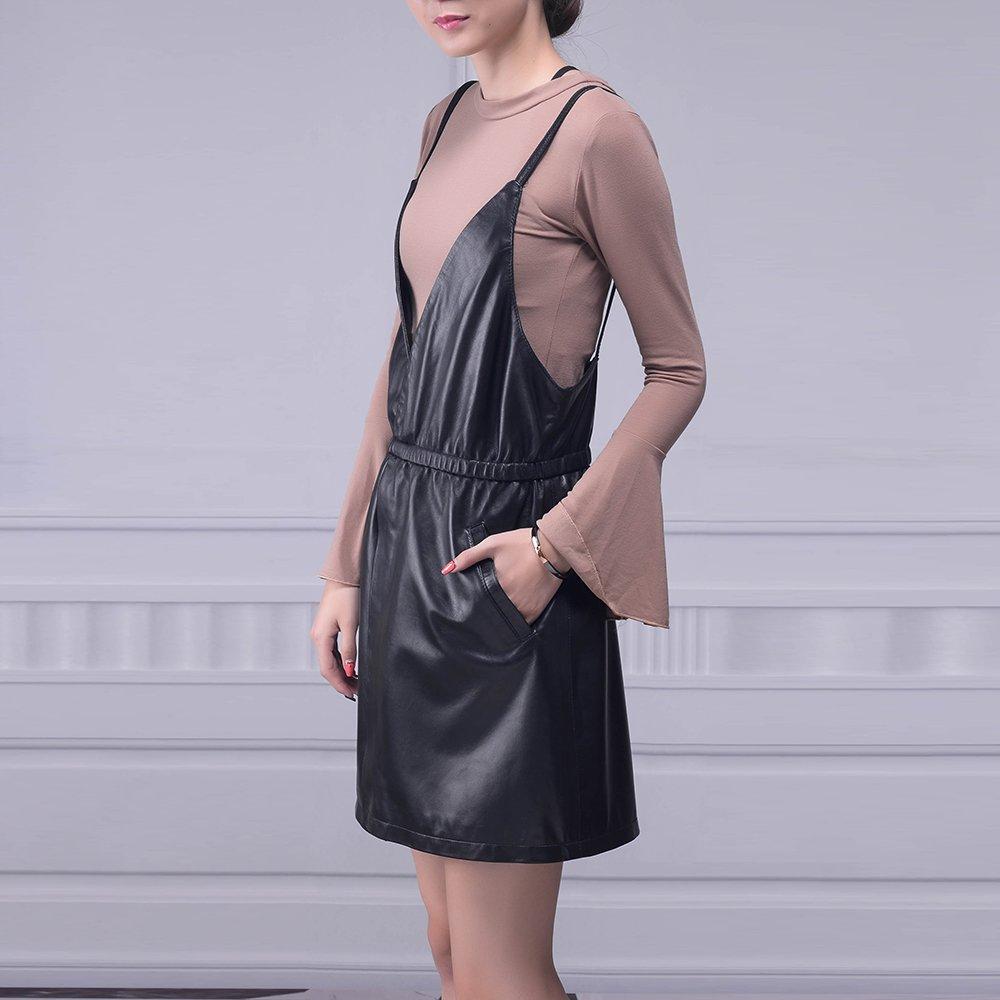 Jiashibao Women Pure Sheep Leather Short Jumpsuits V-Neck Elastic Waist Wide Legs Black Shorts Overalls (XL) by Jiashibao (Image #3)