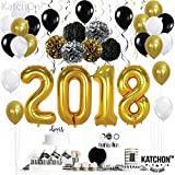 2018 Gold Balloons with Hanging Party Swirls, Paper PomPoms, and Ballons - Graduation Balloons for 2018 Graduation Decorations - Gold Black Silver PomPoms and Swirls -New Years Eve Party Supplies