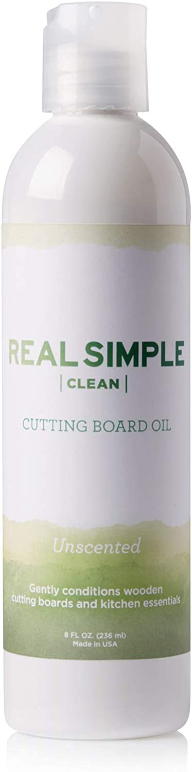 Real Simple Clean 100% Food Grade Mineral Oil, for Cutting Boards, Butcher Blocks, and Kitchen Essentials, Made in USA and Not Tested on Animals, Unscented, 8 oz