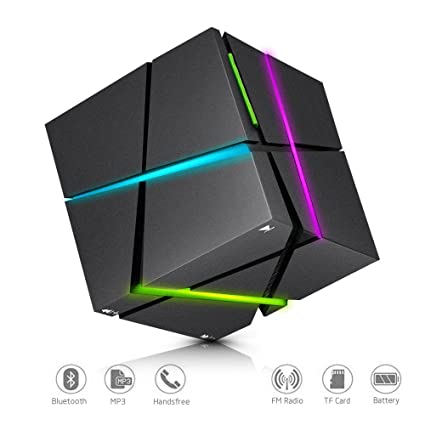Bluetooth Speakers with Colorful LED Light, Mini Portable Bluetooth 4 0  Wireless Speaker Stereo Magic Cube Music Player Hand Free Speaker for  iPhone