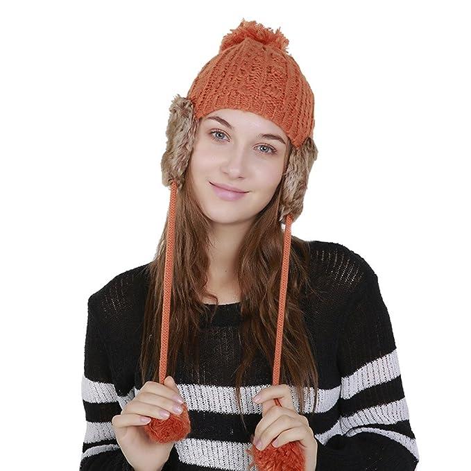 Kobay Berretto Invernale da Donna in Lana Calda Lavorato a Maglia  all Uncinetto per Proteggere d32abe293079
