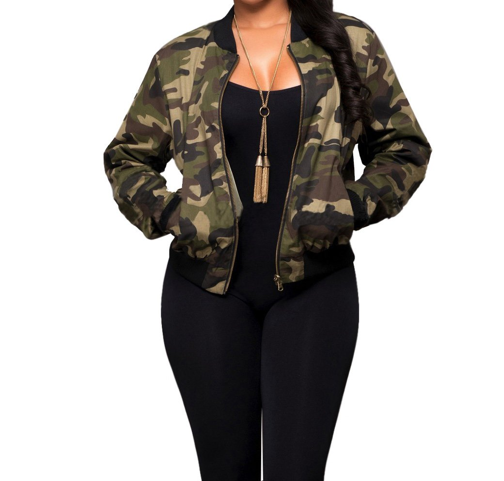 Sexycherry Faddish Military Casual Camouflage Lightweight Thin Short Jacket Coat For Women,Camouflage,Medium