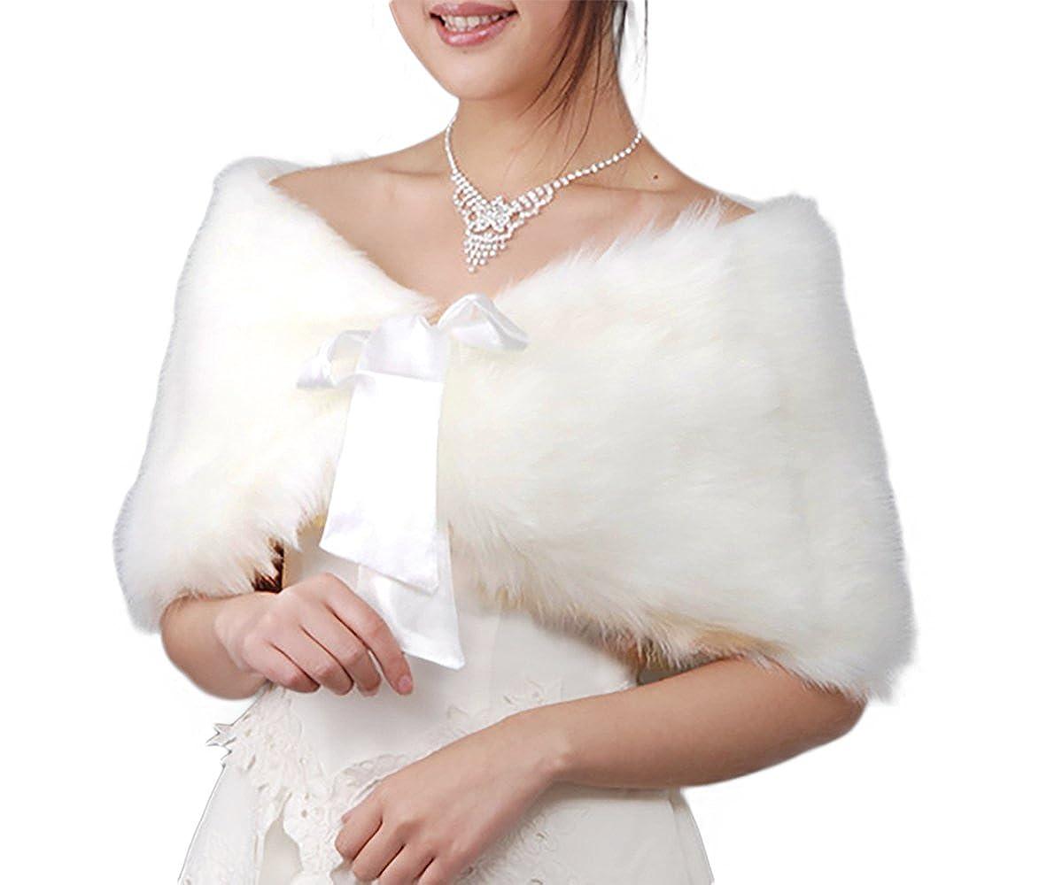 Flora Faux fur Satin lined Bridal Stole/Wedding Wrap Cover up/Bridesmaid Cape,code YRB code YRB (BLACK)
