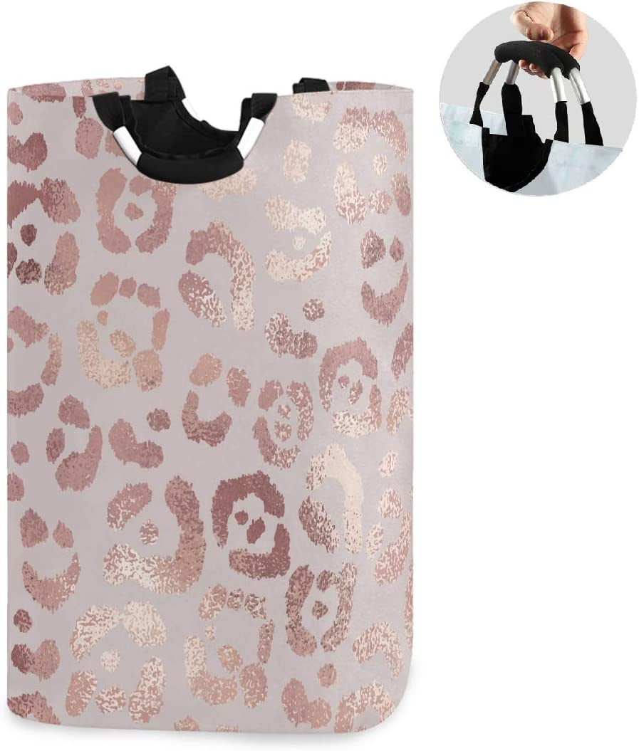 ALAZA Large Laundry Basket Rose Gold Leopard Print Pink Cheetah Laundry Bag Hamper Collapsible Oxford Cloth Stylish Home Storage Bin with Handles, 22.7 Inch