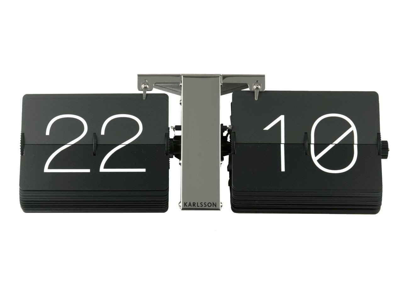 Karlsson Flip Clock with Chrome Stand without Case, Steel, Black