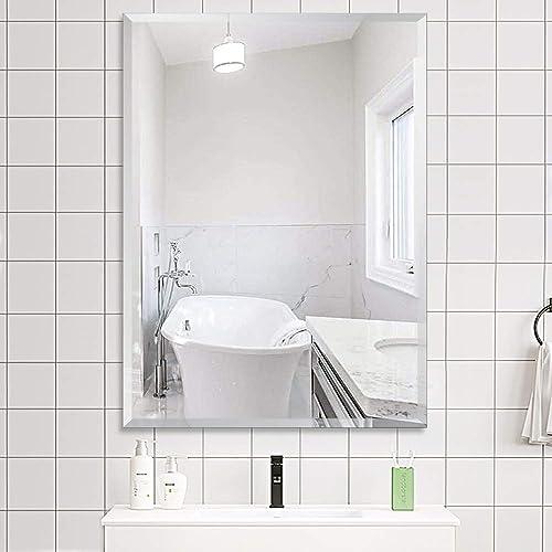 PexFix 24 X36 Frameless Rectangle Wall-Mounted Mirror with Beveled Polished Edge Rectangular Bathroom Mirror Vanity Mirror Wall Mirrors Hang Horizontally, Vertically