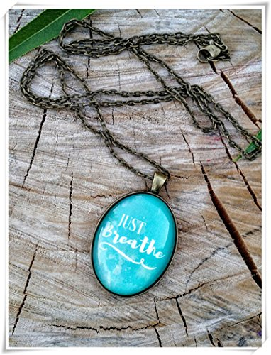 Just Breathe Turquoise Pendant,Necklace,Dome Glass Jewelry, Pure ()