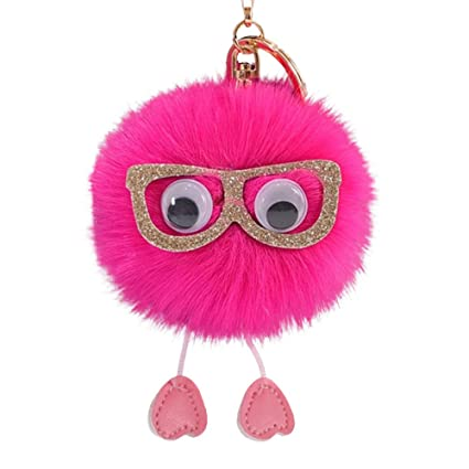 Amazon com : Gbell Soft Cute Pompom Faux Rabbit Fur Ball Key