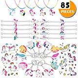 Unicorn Party Favor Kids' Dress-up Toys Bulk Set - 85 Pieces Crafts Gift Novelty Prizes - Rainbow Birthday Party Supplies Decoration Assorted Kit - Wristband Bracelets, Necklaces, Keychain, Tattoos