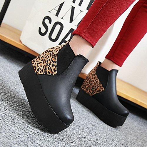 82d879eb5a44 ... Mee Shoes Damen hidden heel Geschlossen warm gefüttert runder toe Ankle  Boots Schwarz