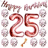 "25th Birthday Party Decorations Rose Gold Decor Strung Banner (HAPPY BIRTHDAY) & 12PC Helium Balloons w/Ribbon [Huge Numbers ""25"", Confetti] Kit Set Supplies 