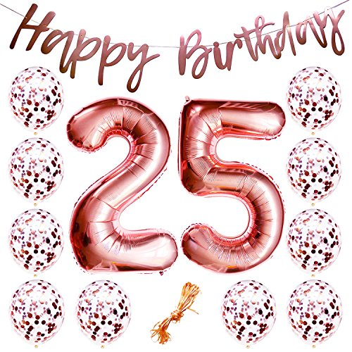 25th Birthday Party Decorations Rose Gold Decor Strung Banner (Happy Birthday) & 12PC Helium Balloons w/Ribbon [Huge Numbers 25, Confetti] Kit Set Supplies | 25 Year Old Year-Old Backdrop