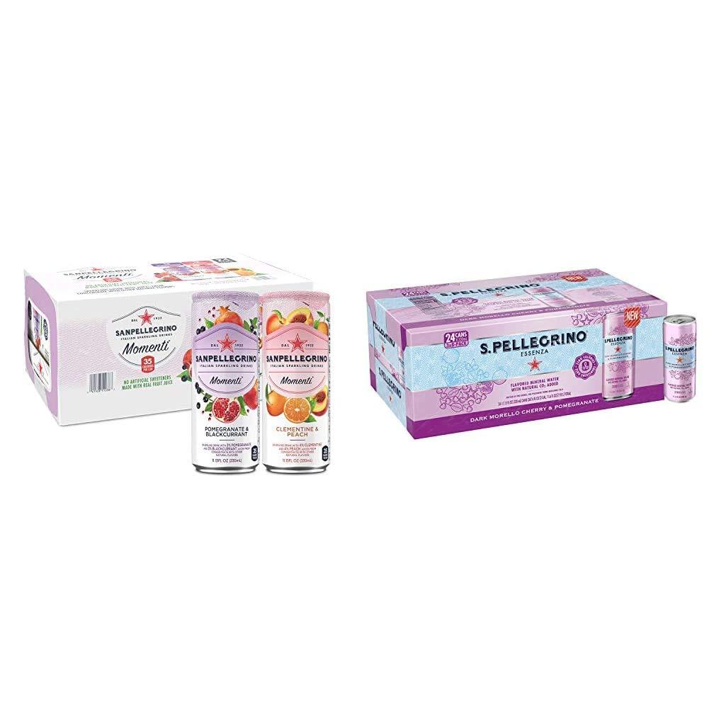 San Pellegrino Momenti Variety Pack, 11.15 Fl Oz (24 Pack) & S.Pellegrino Essenza Dark Morello Cherry & Pomegranate Flavored Mineral Water, 11.15 Fl Oz Can (24 Pack)