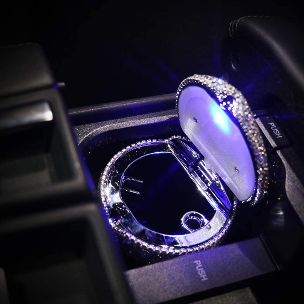 Black seemehappy Bling Bling Diamond Car Ashtray Cup Holder with Lid and Light Bling Car Accessories for Women
