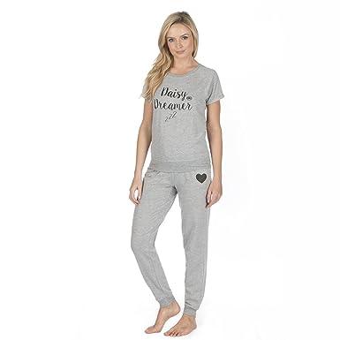 Women s Long Sleeve Jersey Top   Pants Pyjama Set PJs Loungewear Set ... 883a5da47