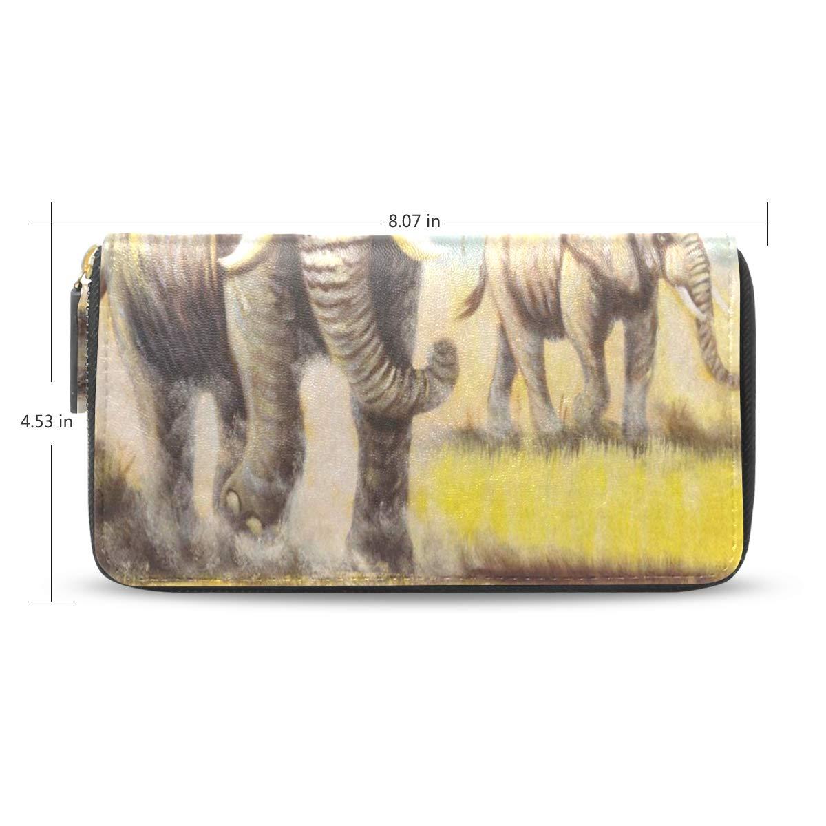 Womens Wallets Autumn Grass Elephant Art Leather Passport Wallet Coin Purse Girls Handbags