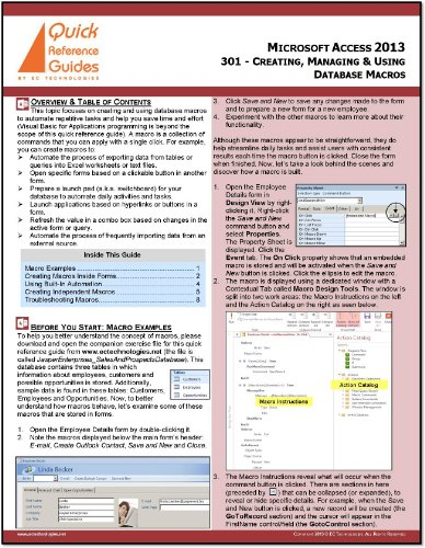 2010 Daily Desk (Microsoft Access 2013 Quick Reference Guide - Learning Microsoft Access Part 5: Creating, Managing & Using Database Macros (301))