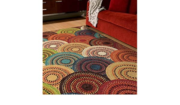 70ae7a77526 Amazon.com  Better Homes and Gardens Bright Dotted Circles Area Rug and  Runner (6 6 x 10 )  Kitchen   Dining