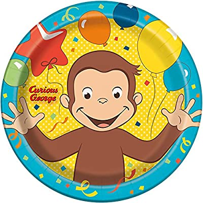 Unique Curious George Round Lunch Party Plates , 8 Ct.: Toys & Games