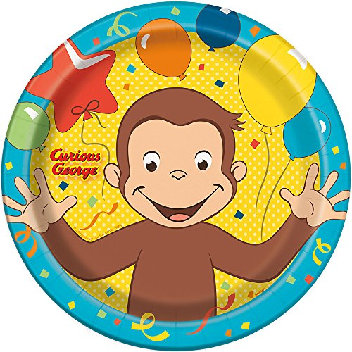 Unique Curious George Round Lunch Party Plates , 8 -