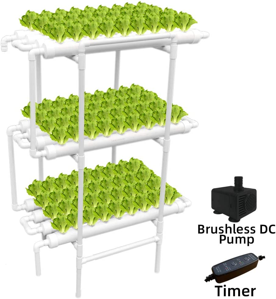 WEPLANT Hydroponic Growing System NFT with Timer Control, PVC Pipe 108 Planting Hole, Garden Water Culture Plant Salad Vegetable with Timer, Sponge, Planting Basket