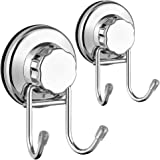 SANNO Double Hooks Suction Cups Vacuum Hook for Flat Smooth Wall Surface Towel Robe Bathroom Kitchen Shower Bath Coat…