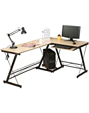 HLC Computer Desk L-Shape Corner Home Office Office Sturdy Furniture Workstation with Pull-out Keyboard Shelf Panel CPU Storage Stand