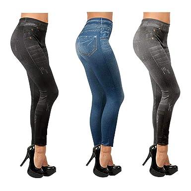 f637cf39b4753 LEG 3Pcs Leggings Jeggings Vaqueros Pantalones Elásticos para Mujer Azul  Gris y Negro (S