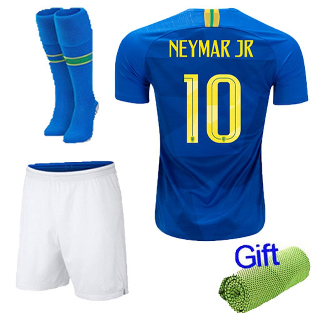 Amazon.com   New Fi 2018 Soccer Football Blue Away Kit Short Sleeve Jersey  for 3-12 Years Old Kids Boys Youth Suit with Socks and Free Ice Face Cloth  ... 81babb4a7
