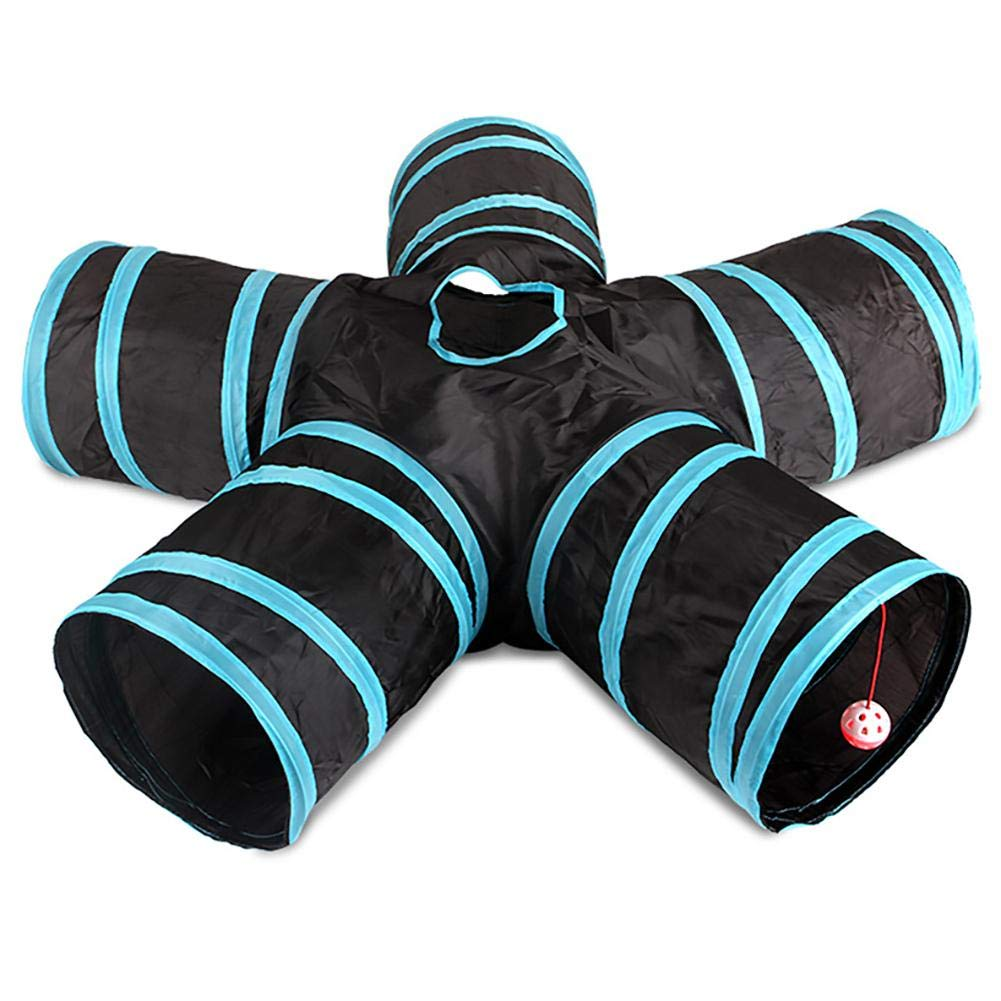 Pet Cat Five Tunnel, Small Pet Cat Kitten Tunnel Play Collapsible Funny 5 Way Tube Toy Hole Asever