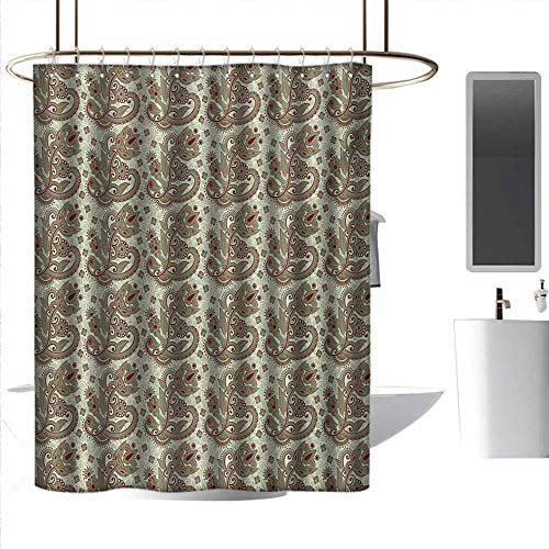 Shower Curtains Gray Yellow Ethnic,Persian Middle Eastern Floral Pattern with Traditional Folk Boho Effects,Sepia Eggshell Maroon,W72 x L72,Shower Curtain for Small Shower ()