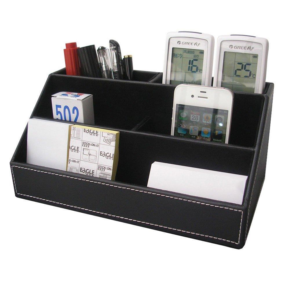 Polkar 5 Slot Compartments Multifunctional PU Leather Desktop Storage Office Desktop Organizer Remote Control Holder (5 Slot-Black)