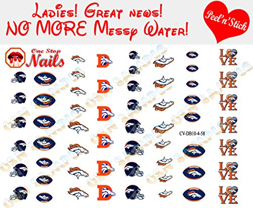 Broncos Clear Vinyl PEEL and STICK (NOT Waterslide) nail decals/stickers V4. Set of 58. -