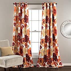 Lush Decor Leah Room Darkening Window Curtain Panel Pair, 84 inch x 52 inch, Red/Orange, Set of 2