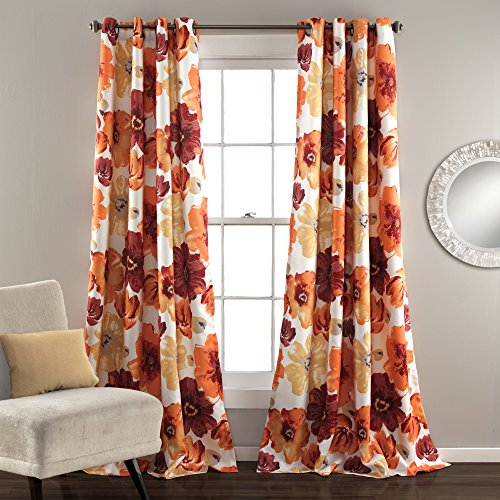 Red Floral Curtains - Lush Decor Leah Room Darkening Window Curtain Panel Pair, 84 inch x 52 inch, Red/Orange, Set of 2