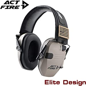 ACTFIRE Shooting Ear Protection Electronic Ear Protection NRR 23dB Noise Reduction Sound Amplification Safety Earmuffs Ultimate Combat Shooting Muff Design Perfect for Shooting Hunting Mowing