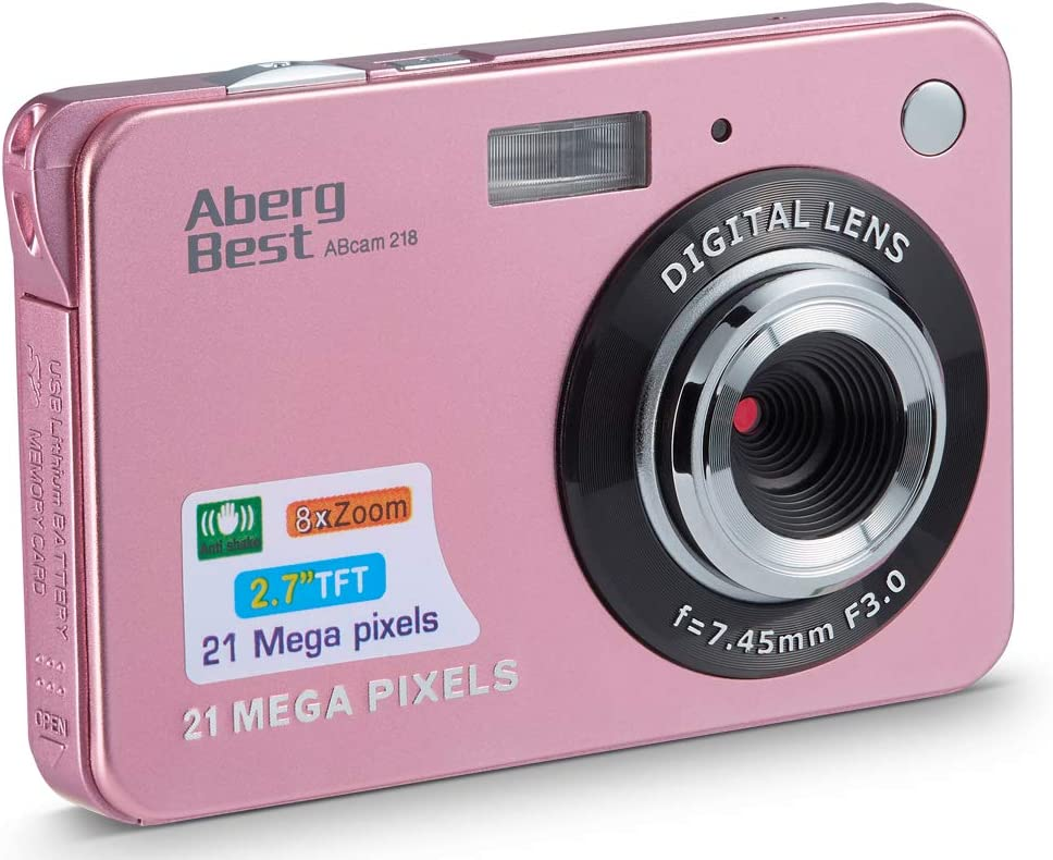 "AbergBest 21 Mega Pixels 2.7"" LCD Rechargeable HD Digital Camera Video Camera Digital Students Cameras,Indoor Outdoor for Adult/Seniors/Kid (Rose Gold)"