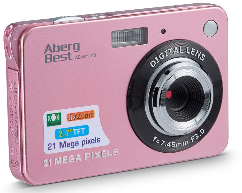 "AbergBest 21 Mega Pixels 2.7"" LCD Rechargeable HD Digital Camera Video Camera Digital Students Cameras,Indoor Outdoor for Adult/Seniors/Kid (Rose Gold)"