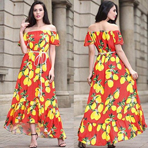 Floreale Maniche Bohemien Cintura Abito Elegante Rosso Estate Stampa ALIKEEY Da Con Con Donna B Lunghe A Vestito Nuova Sexy Sera Da Eqgqzw8