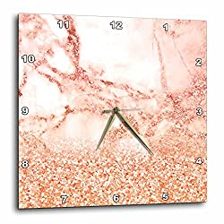 3dRose Luxury Grey Pink Glitter Ombre Gem Stone Marble Metallic Faux Print Wall Clock, 13 x 13