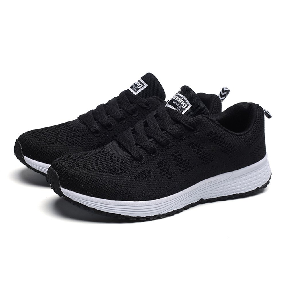 2019 Hot Women Summer Running Shoes Comfortable Mesh Round Cross Straps Flat Sneakers Casual Shoes (Black, 7.5)