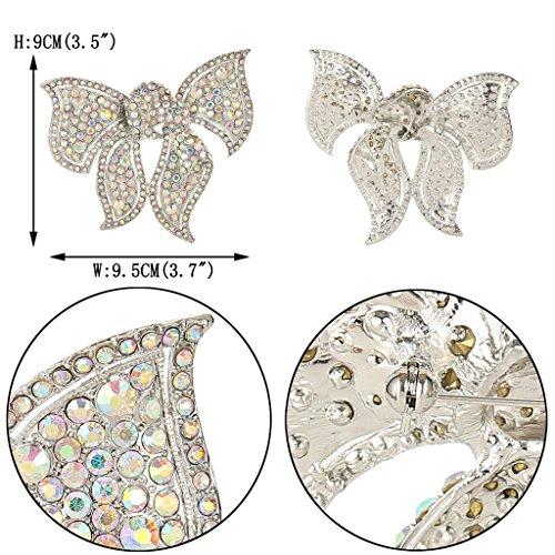 EVER FAITH® Noces Ton Argent Grand Double Nœuds Broche Pin Transparent AB Cristal Autrichien
