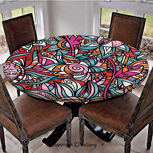 Elastic Edged Polyester Fitted Table Cover,Colorful Abstract Florals Sunflower Mosaic Curl Ornaments Stained Glass Decorative,Fits up 45