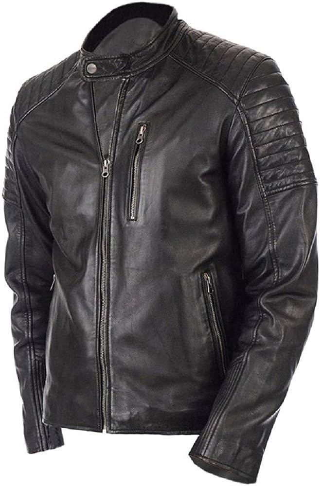 Sakama Leather Mens Rayo Vintage Biker Jacket Genuine Lambskin Leather Cool Look