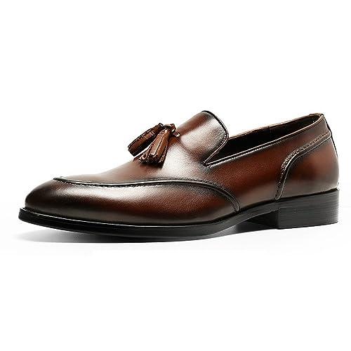 YCGCM Zapatos De Cuero Hombres Casual Negocios Inglaterra Apuntado Mocasines Borlas,Brown-37
