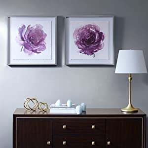 """MADISON PARK SIGNATURE Transitional Wall Décor 25 X 25 inch 2 Piece Multi Panel Set Home Accent Dining, Bathroom Decoration, Ready to Hang Painting for Bedroom, 25"""" x 25"""", Purple"""