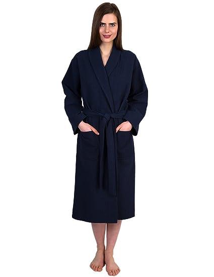 TowelSelections Women s Waffle Weave Robe Shawl Spa Bathrobe Small Medium  Navy 98c7d6f26